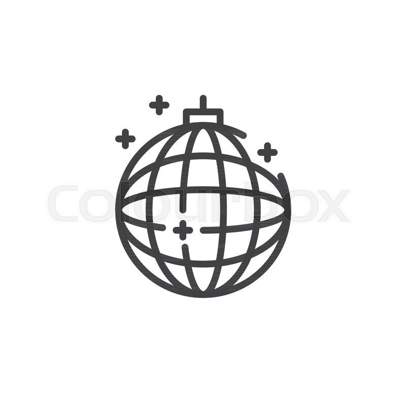 800x800 Party, Disco Ball Line Icon, Outline Stock Vector Colourbox