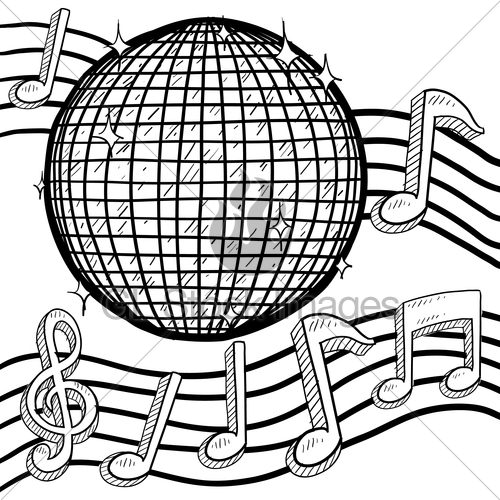 500x500 Disco Ball With Musical Notation Sketch Gl Stock Images