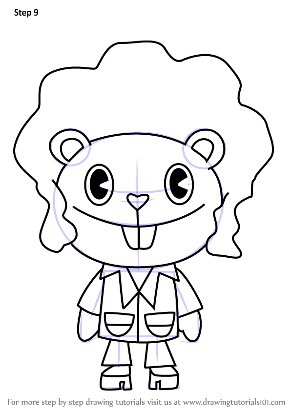 600x846 Learn How To Draw Disco Bear From Happy Tree Friends