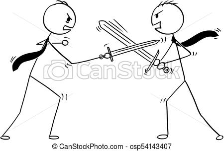 450x304 conceptual cartoon of two businessmen arguing and fighting