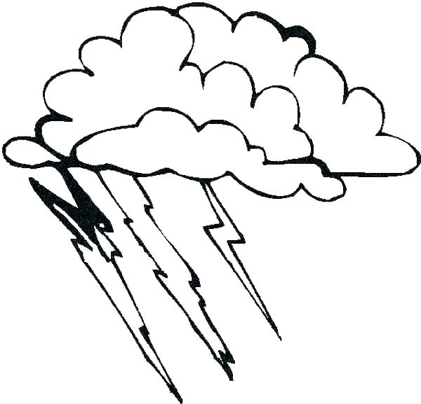600x577 Bolt Coloring Pages Printable Of Cloud Lightning