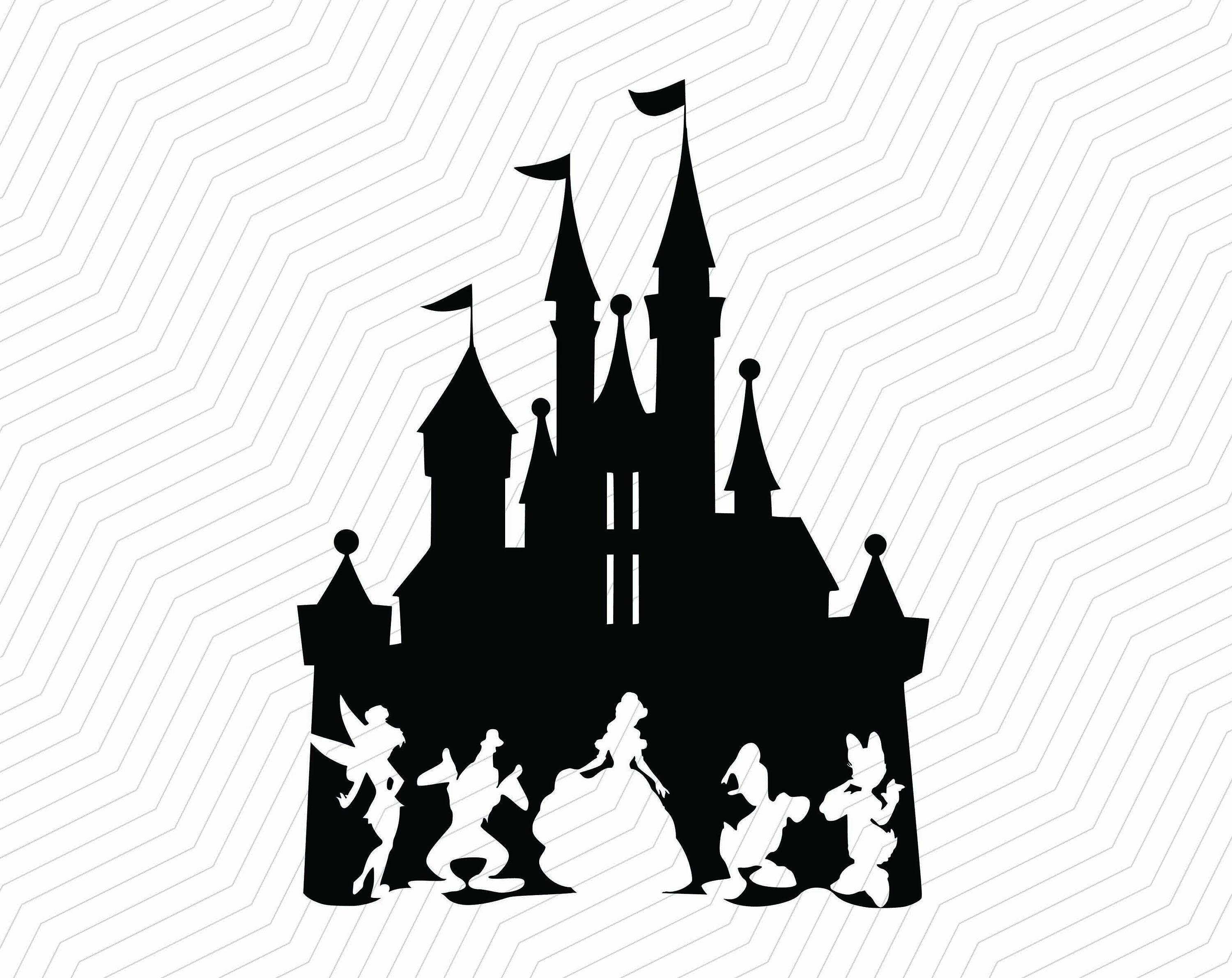 3000x2382 Disney Castle With Tinkerbell Belle Svgpngbeauty And The Etsy