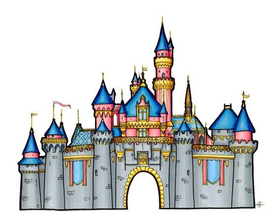 570x456 Disney Castle Drawing, Sleeping Beauty Castle Illustration