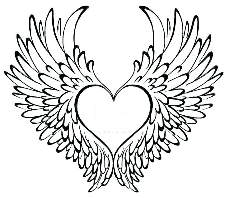 736x637 Heart With Wings Drawings How To Draw A Heart With Wings Step