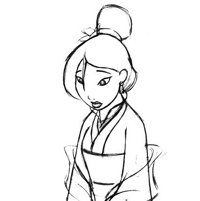 407x408 Mulan Sketch Disney Sketches, Disney Princess Art