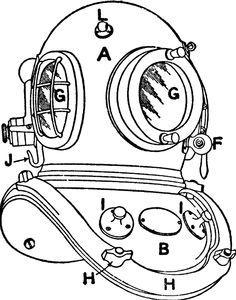 Diving Helmet Drawing