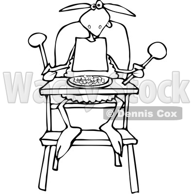 400x400 Cartoon Clipart Of A Black And White Baby Lamb Sitting In A High