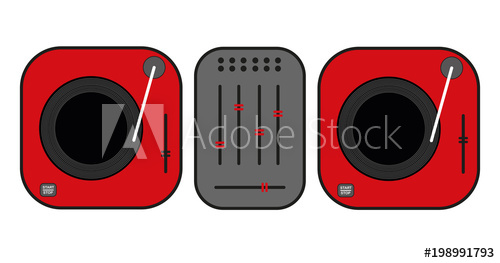 500x263 flat outlined dj turntables drawing red vinyl turntables flat