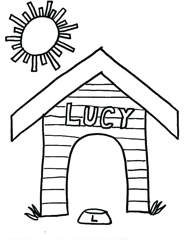600x786 Dog House Colouring Pages Doghouse Drawing At Free For Personal