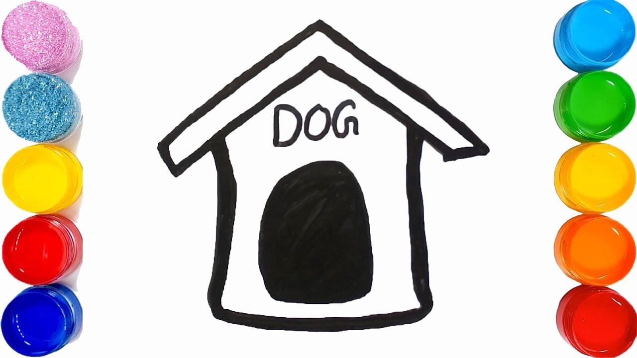 1280x720 How To Draw A Dog House Easy For Kids Very Easy Too Colour