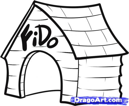 520x425 Learn How To Draw A Dog House, Buildings, Landmarks Places, Free