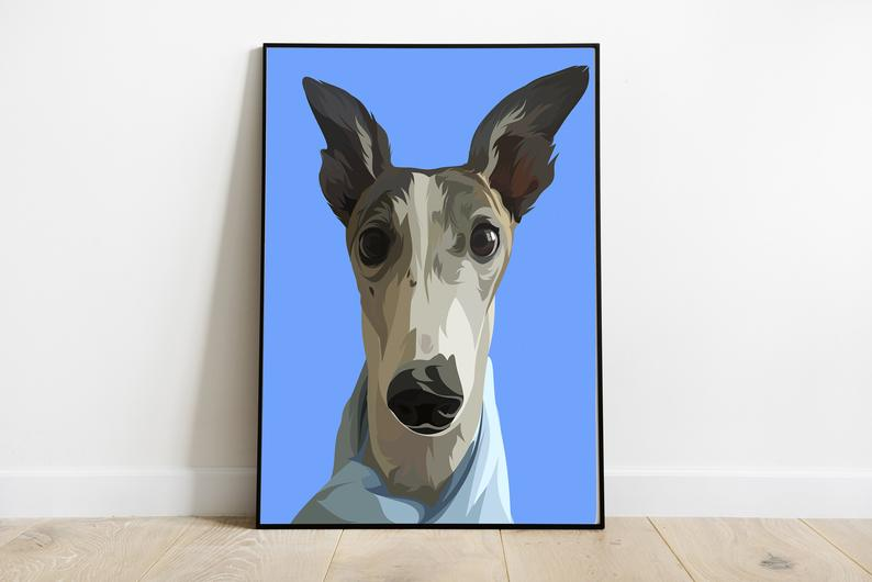 794x530 custom dog portrait dog drawing portrait from photo best etsy