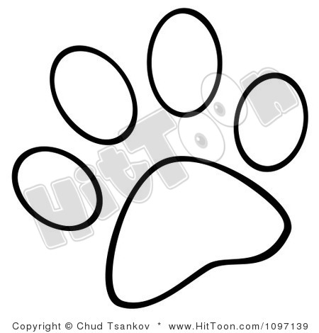 450x470 Dog Paw Print Clipart Toon Outlined Krawzx