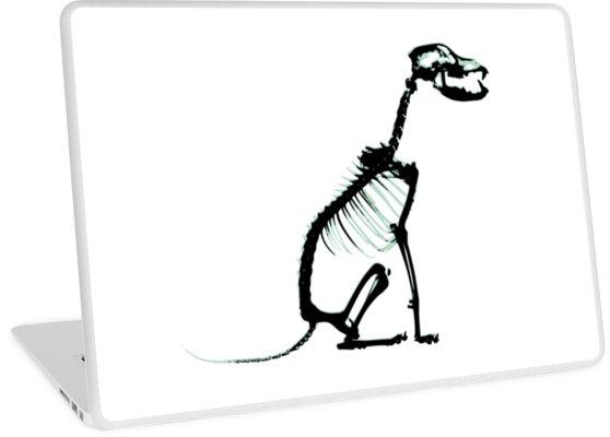 558x400 Black Blue Sitting Dog Skeleton Laptop Skins