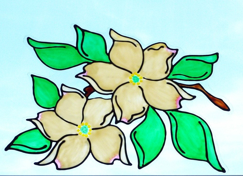 1000x727 Dogwood Blossom Suncatcher Window Cling Faux Stained Glass Etsy