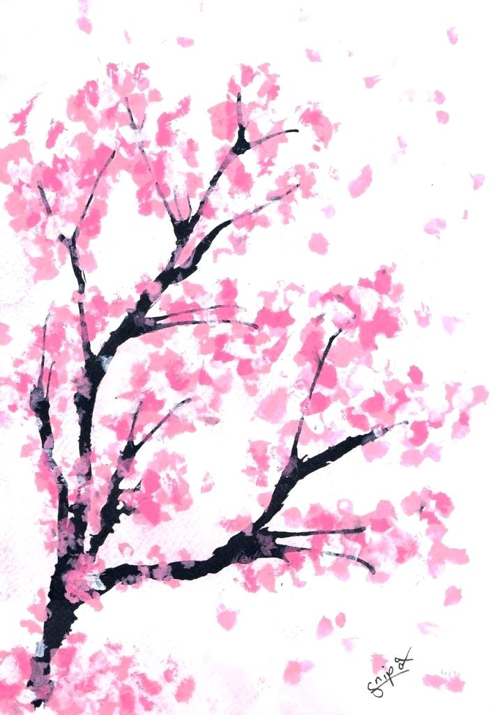 717x1024 drawing of a cherry blossom tree cherry blossom tree drawing