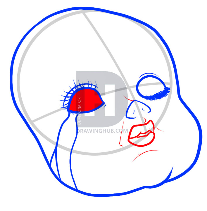 708x720 how to draw a doll face, porcelain doll, step