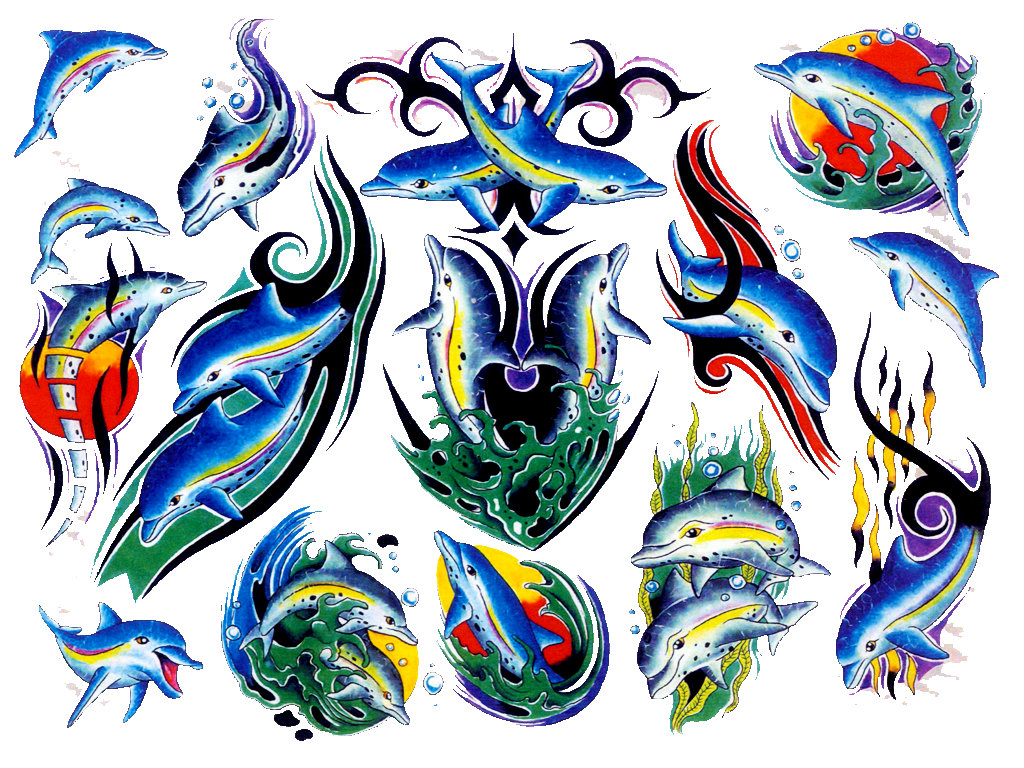 1024x768 Colored Dolphin Tattoo Designs Tattoo Ideas