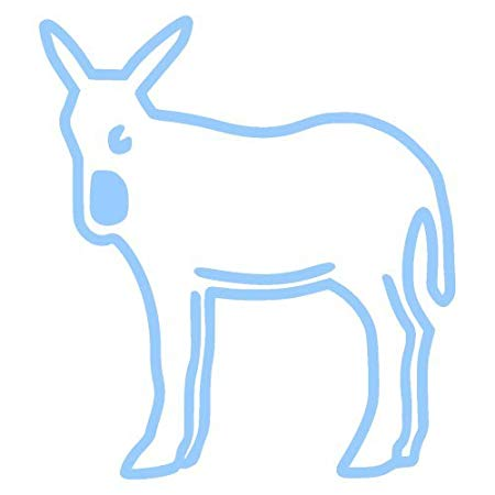 450x450 Catalonian Donkey Sticker Outline, Light Blue X