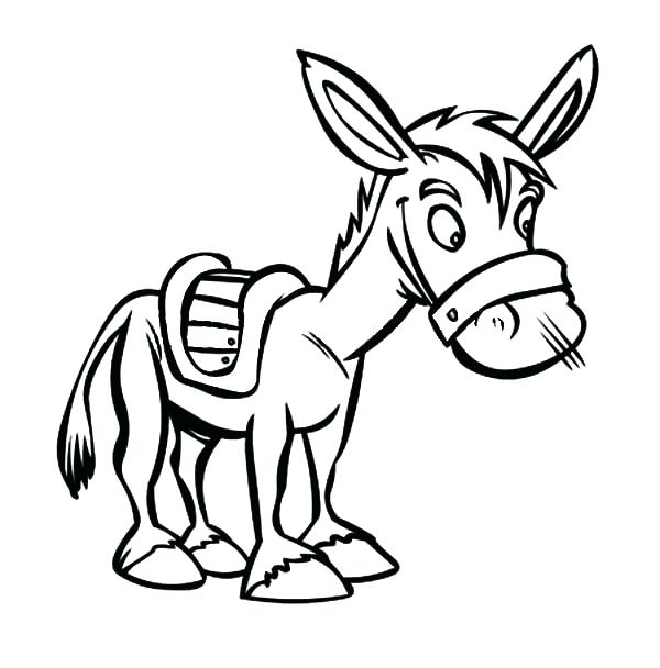 600x608 Donkey Drawing Outline