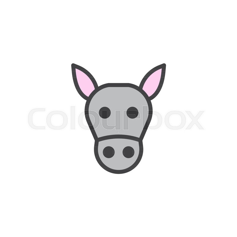 800x800 Donkey Head Filled Outline Icon, Line Stock Vector Colourbox