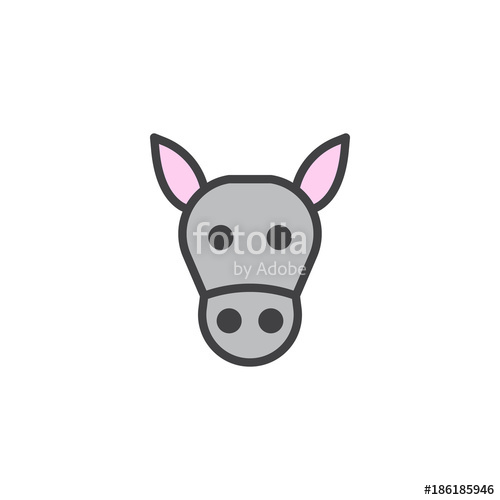 500x500 Donkey Head Filled Outline Icon, Line Vector Sign, Linear Colorful