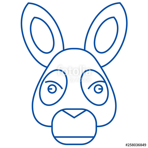 500x500 Donkey Head Line Concept Icon Donkey Head Flat Vector Website