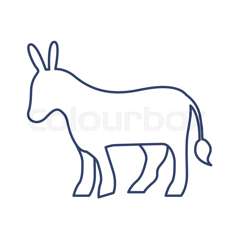 800x800 Silhouette With Donkey Domestic Animal Stock Vector Colourbox