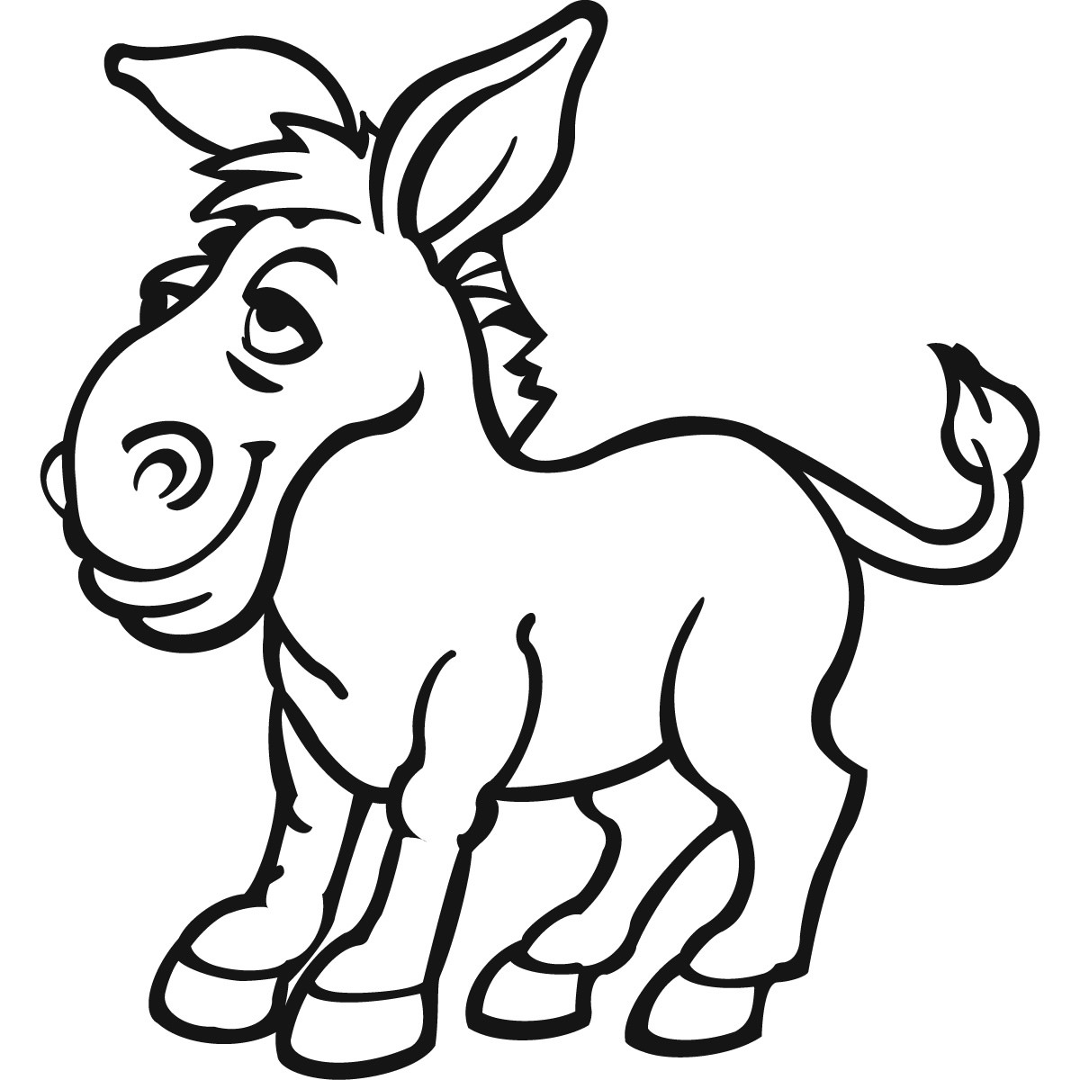 1200x1200 Donkey Drawing Cartoon For Free Download