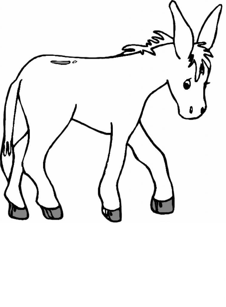 757x1024 Cartoon Donkey Coloring Pages Beautiful Donkey Outline Stock S