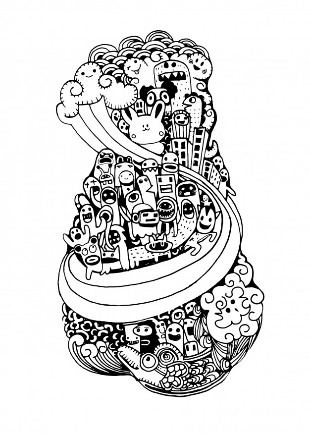 626x876 crazy doodle city,doodle drawing style vector premium download