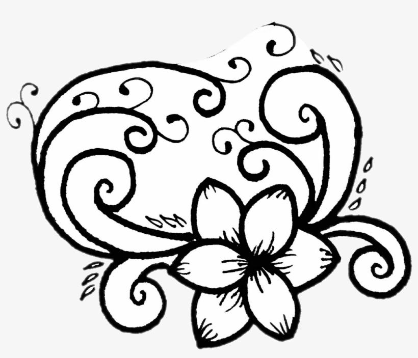 820x703 Doodle Drawing Flower Blackandwhite Simple