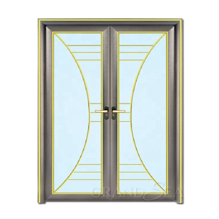 750x750 luxury royal laminated double glass aluminum double swing door
