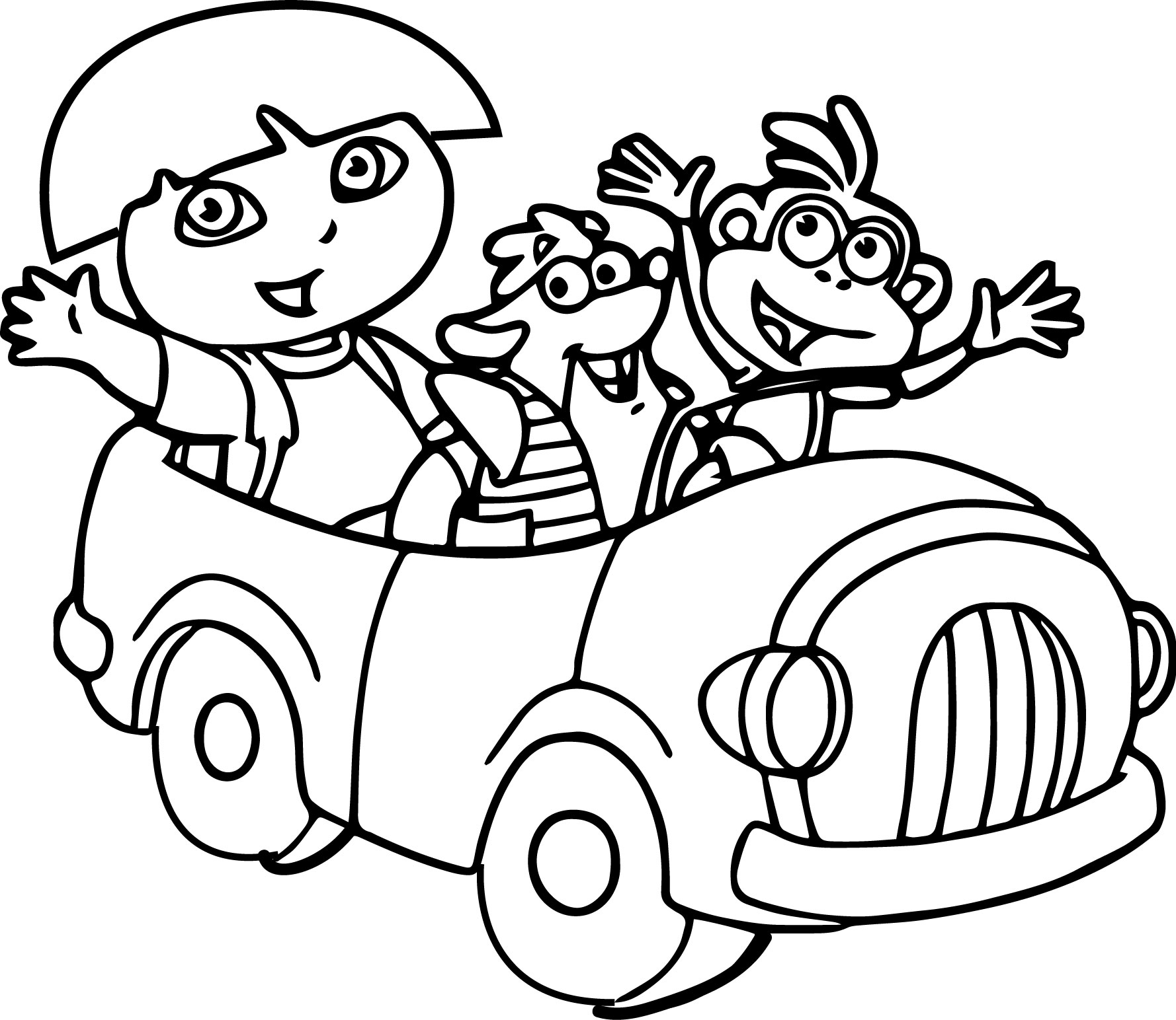 1778x1544 Dora And Friends In The Car Coloring