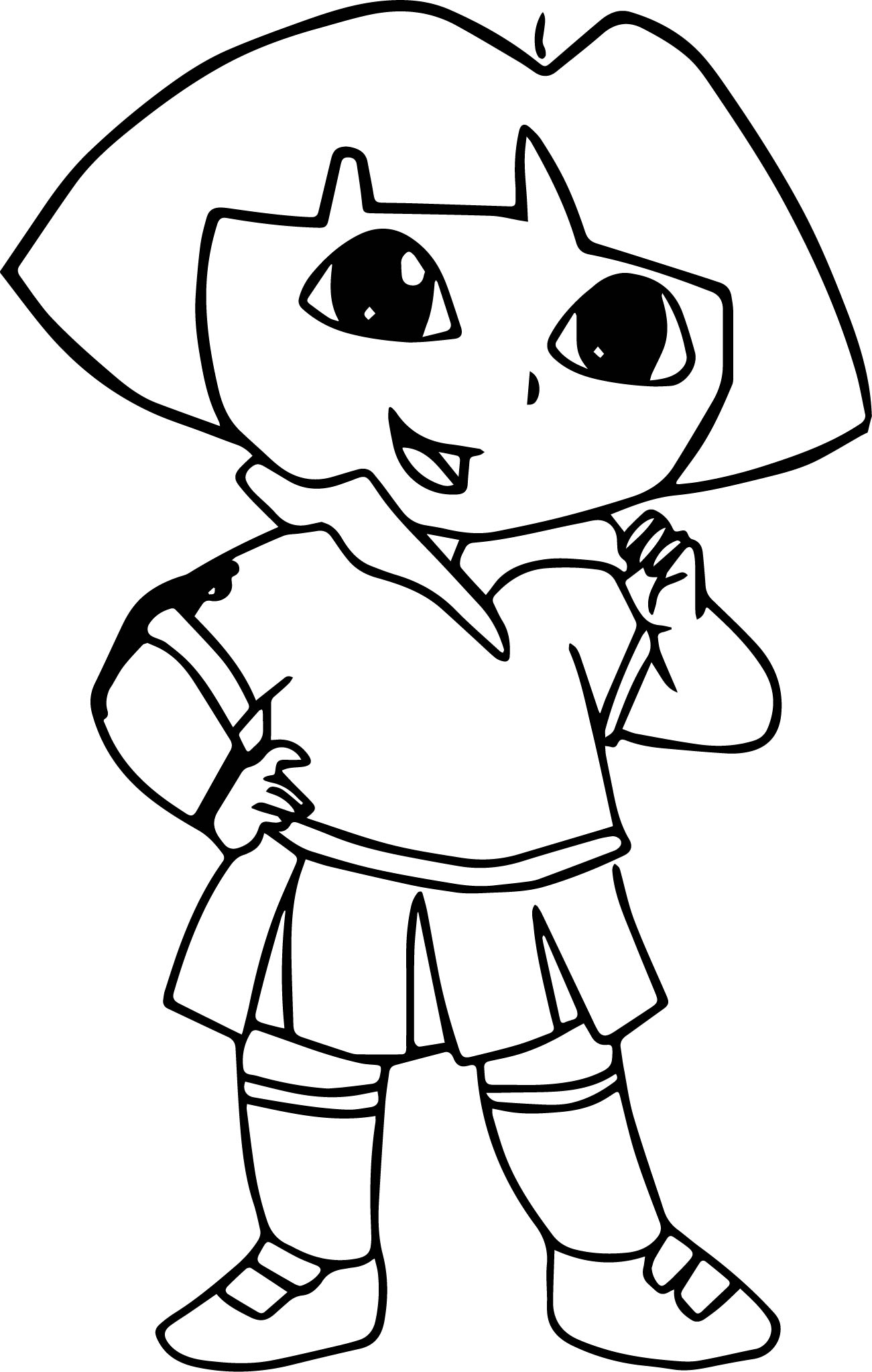 1301x2046 Draw Dora The Explorer Picture Coloring