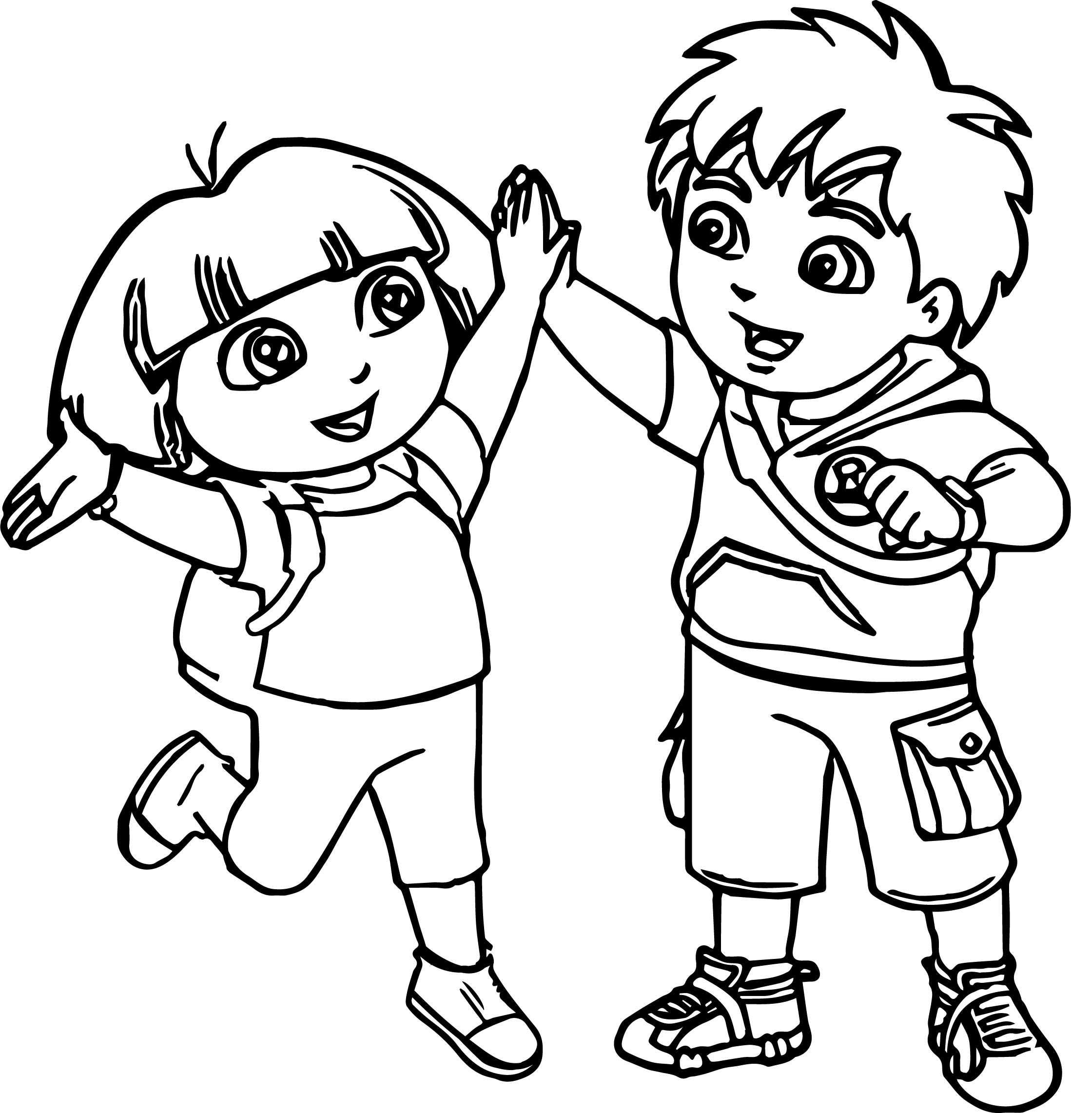 2197x2283 Go Diego Go And Dora Best Friends Coloring