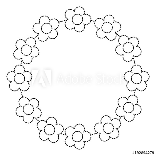 500x500 Floral Wreath Flowers Decoration Ornament Vector Illustration