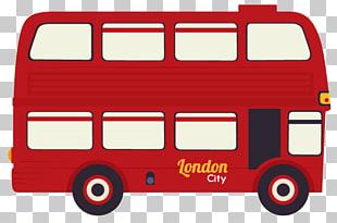 310x205 london double decker bus illustration, cartoon red double decker