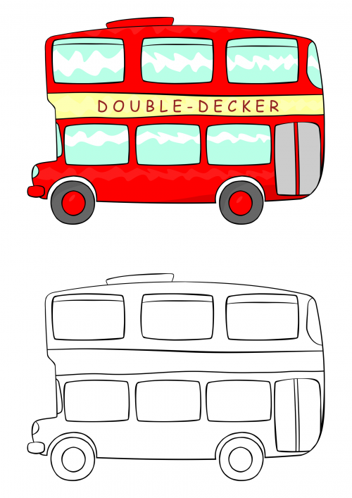 500x707 double decker bus coloring pages kids bus art, double decker