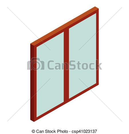 450x470 double glass door icon, cartoon style double glass door