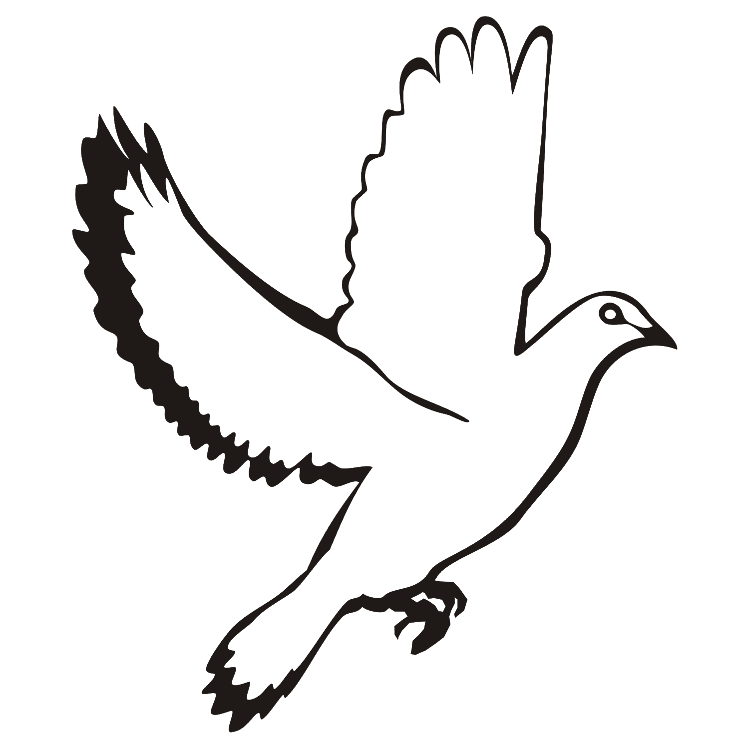 1500x1500 Flying Dove With Black Wing And Tail Tattoo Design