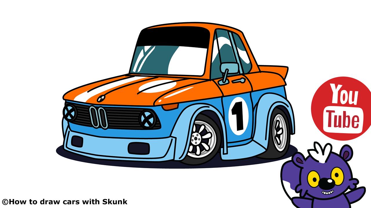 1280x720 Bmw Racing Car Cartoon Version