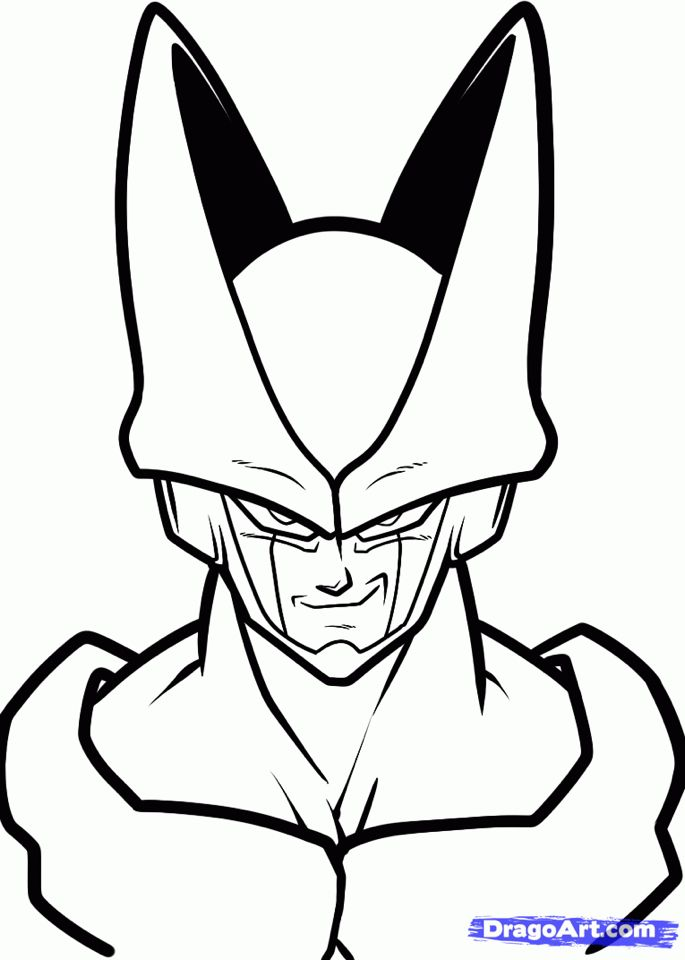 685x960 Cell Close Up How To Draw In Dragon Ball Z, Dragon Ball