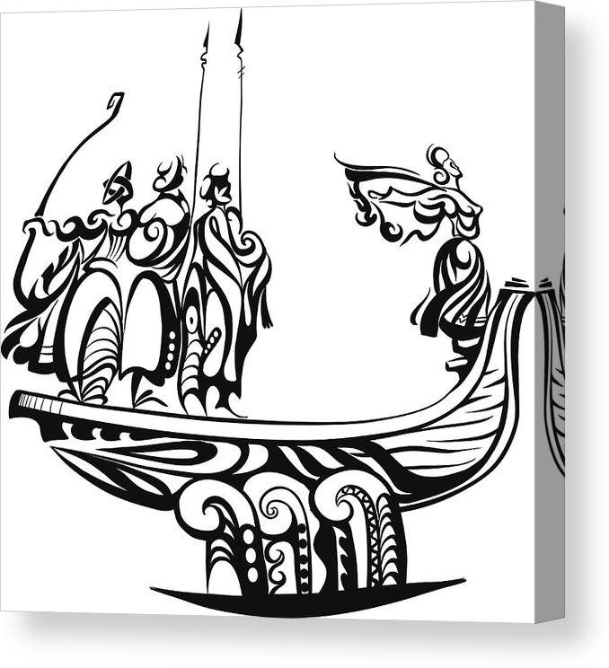 678x744 Decorative Boat Sails On The Waves With The Vikings Canvas Print