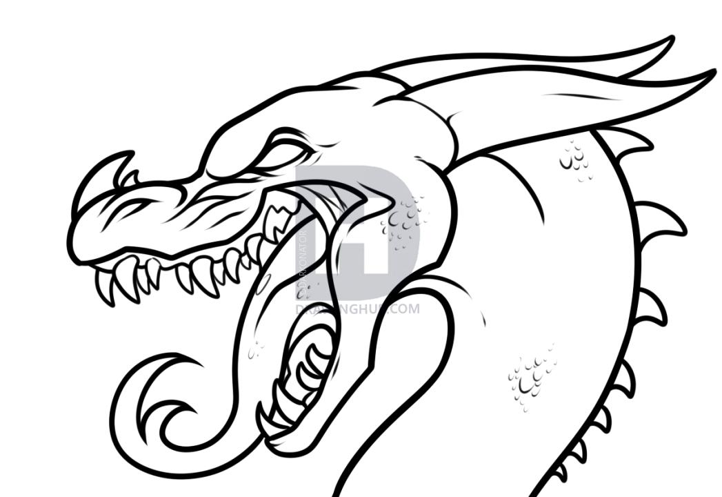 1047x720 Dragon Drawing Tutorial, Step