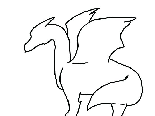 602x452 Dragon Simple Drawing Simple Dragon Drawings In Pencil Zupa