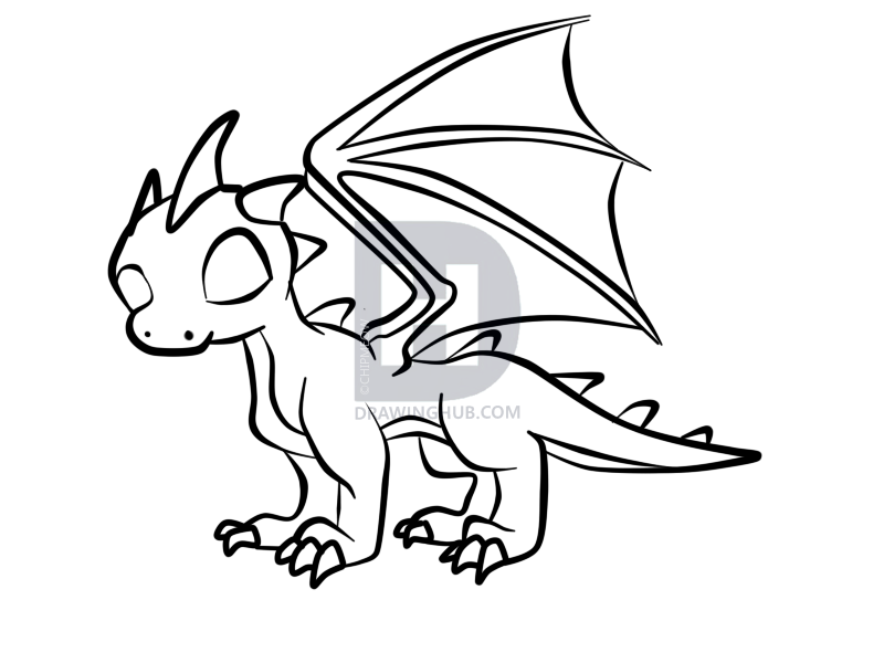 800x600 How To Draw A Baby Dragon, Step
