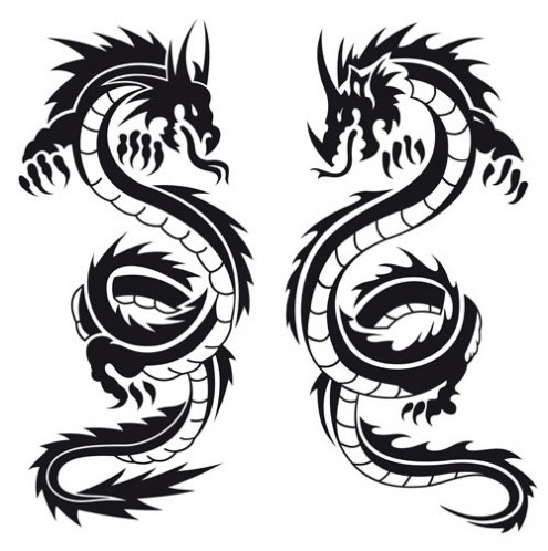 495x498 Black And White Dragons Tattoo Design For Black And White Dragon