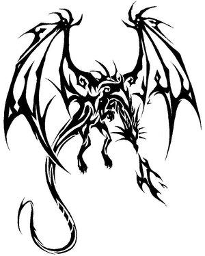 300x374 Beautiful Tribal Dragon Tattoo
