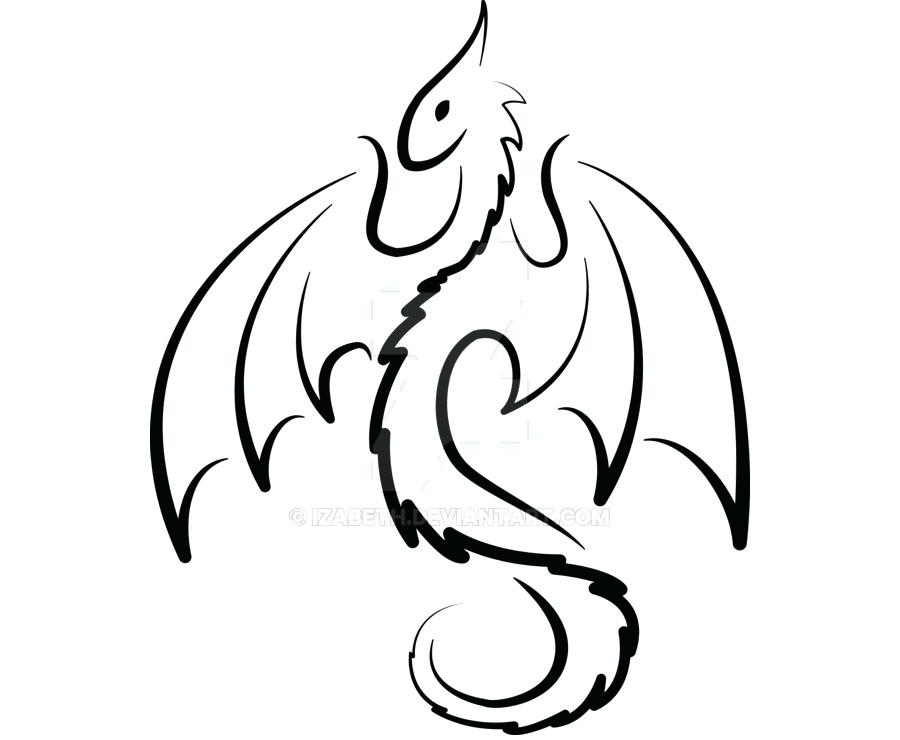 900x740 Simple Dragon Pictures Cute Black Outline Dragon Tattoo Design